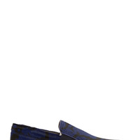 Lanvin Black And Blue Calf-hair Slip-on Shoes