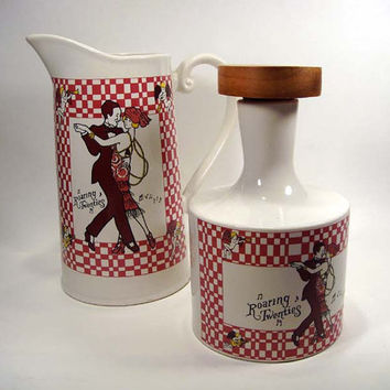 Pitcher & Carafe  Roaring Twenties 20's - Price Imports Japan- Vintage - Dancing Flapper - Kitchen Red Checkered - Paris Cafe