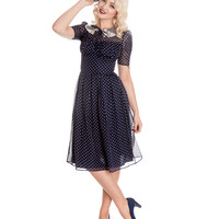 1940s Style Blue & White Polka Dot Cynthia Swing Dress
