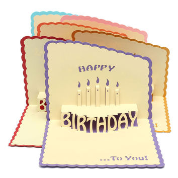 Multicolor 3D Cards Handmade Pop Up Greeting Card Happy Birthday Greeting Card Handcrafted Kirigami Origami Gifts With Envelope