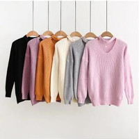 Choker Neck Knit Pullover Sweater B0014185