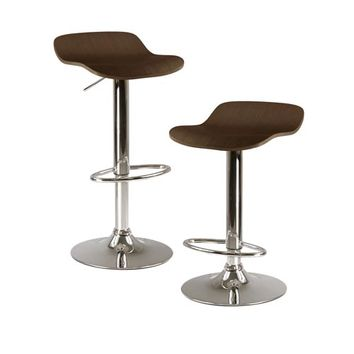 Winsome Wood 93489 Kallie Cappuccino Air Lift Adjustable Stool with Veneer Top and Metal Base, Set of Two