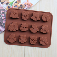 Kitchen Accessories Silicone Owl Cake Decoration Mould Candy Cookies Chocolate Soap Baking Mold Tool (Size: One Size, Color: Brown)
