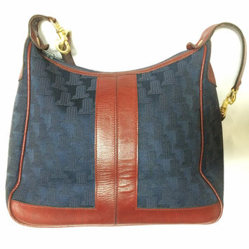 Vintage LANVIN navy logo jacquard shoulder bag with wine, bordeaux leather trimmings. Great masterpiece. Must Have