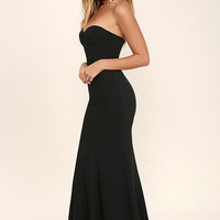 For Infinity Black Strapless Maxi Dress