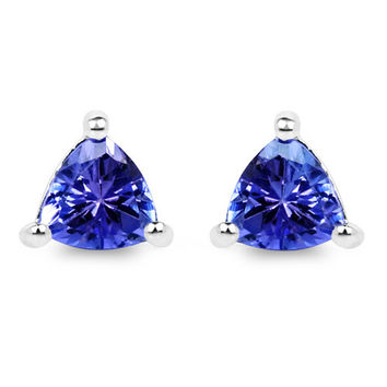 0.46 Carat Genuine Tanzanite .925 Sterling Silver Earrings