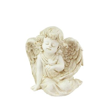 "6.5"" Heavenly Gardens Distressed Ivory Sitting Cherub Angel with Bird Outdoor Patio Garden Statue"