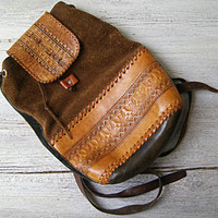 Boho Gypsy Textured Leather Backpack, Vintage distressed Brown Suede and Leather Shoulder Tote, Women Back Bag, Hipster Fall Autumn Fashion