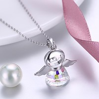 Womens Necklace Gift Ideas Aurora Borealis Sterling Silver Angel Necklace
