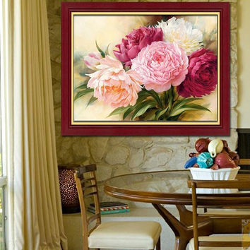 new embroidery diy 5d diamond painting peony flowers cross stitch round diamond kits diamond mosaic house decoration