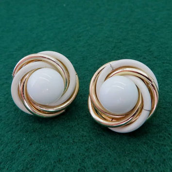 Trifari White Gold Swirl Earrings Vintage Designer Signed Clip on Earrings Costume Jewelry Gift Idea