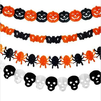DKF4S 2016 New Style Paper Chain Garland Decorations Pumpkin Bat Ghost Spider Skull Shape Halloween Decor Garland QB873957