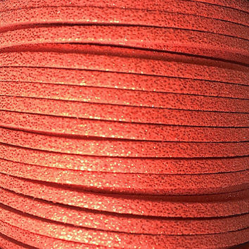 Red Sparkle Faux Suede Cord -  3mm flat - 3, 5, 10 yards/meters - microfiber leather bracelet necklace jewelry making supply Glitter sparkly