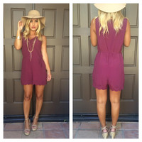 Natalia Scallop Sleeveless Embroidered Romper - Burgundy