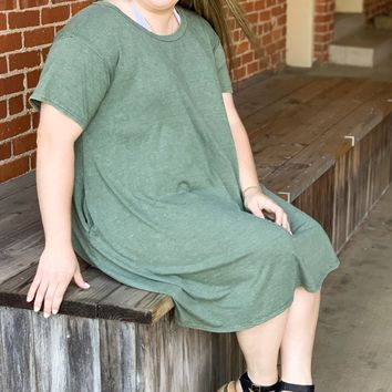 Washed Cotton Mineral Wash Dress - Olive l Plus Size
