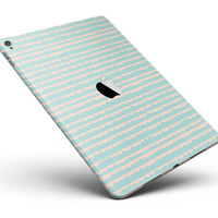 """The Teal and Coral Striped Patttern Full Body Skin for the iPad Pro (12.9"""" or 9.7"""" available)"""