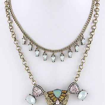 Art Deco Vintage Pastel Jewel Necklace & Earring Set