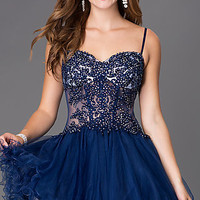 Short Spaghetti Strap Homecoming Dress with Lace Bodice