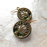 tree of life earrings: green - dangle earrings - celtic jewelry - stocking stuffer - tree jewelry - wiccan earrings - jewelry for women