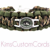Mens / Boys Camo Paracord Bracelet - I love you to the moon and Back Paracord Survival Bracelet with Stainless Steel Water Resistant Charm