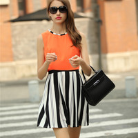 Sleeveless Top with Stripes A-Line Pleated Skirt Set
