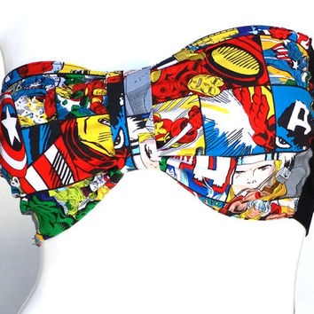 Super Hero Bandeau Top Avengers Crop Top, Marvel Comics Bandeau Crop Top with Bra Pad, Captain America Crop Top, Iron ManTop