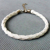 fashion leather bracelet men bracelet women bracelet made of white leather woven wrist bracelet SH-1129