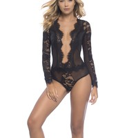 Eyelash Lace Deep V-Plunge Teddy