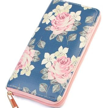 Floral Print Zipper Wallet
