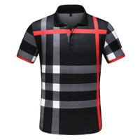 BURBERRY Summer Trending Men Casual Classic Plaid Lapel Shirt Top Black