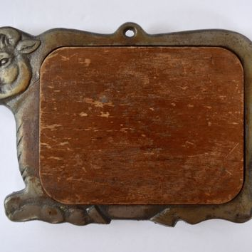 Vintage Cast Iron Cow Framed Wood Hanging Trivet or Cheese Board / Chalk Board Farmhouse Kitchen Decor
