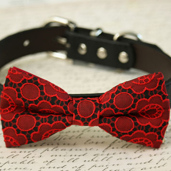 Red Dog Bow tie Collar, Floral wedding, Red and Black wedding pet ideas
