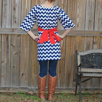 Womens Chevron tunic, red white blue shirt XS, S, M, L and XL