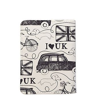 I Love UK London Pattern [Name Customized] Leather Passport Cover - Vintage Passport Wallet - Travel Accessory Gift - Wallet for Women and Men _Mishkaa