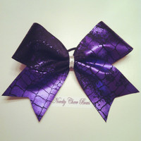 Purple Foil Distressed Animal Print and Black Cheer Bow Silver Center