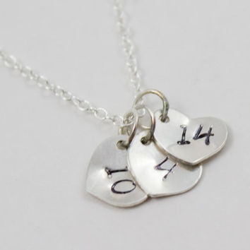 Sterling Silver Personalized Hearts Date Necklace - Hand Stamped, Anniversary, Wedding, Bridal Shower Jewelry