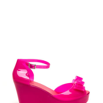 Bow Ahead Ankle Strap Jelly Wedges