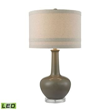 Ceramic LED Table Lamp in Grey Glaze And Acrylic Grey,Clear