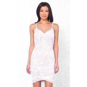 Indie XO Will You Still Love Me White Lace Sleeveless Spaghetti Strap V Neck Tulip Bodycon Mini Dress - Just Ours!