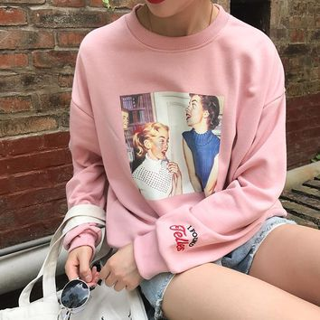 2017 Autunm New College Wind Vintage Character Printed Letter Emboridered Long Sleeve Cotton Casual Female Sweatshirts