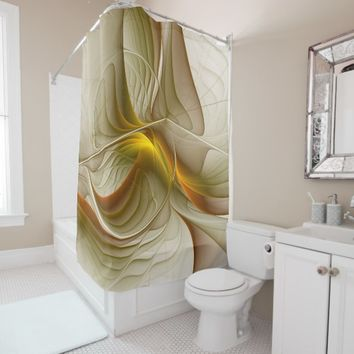 Colors of Precious Metals, Abstract Fractal Art Shower Curtain