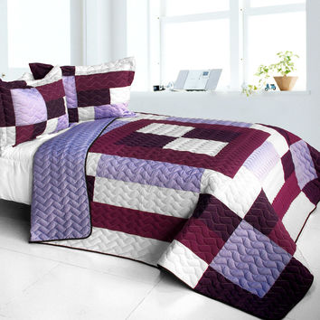 Dream Nymph 3PC Vermicelli Quilted Patchwork Quilt Set in Full/Queen Size