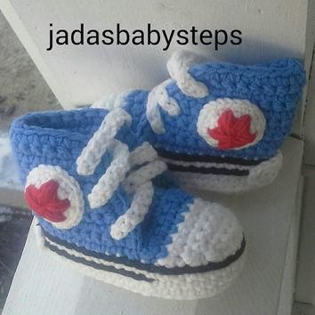 Crochet Converse Infant / Baby Booties - Royal Blue / Red