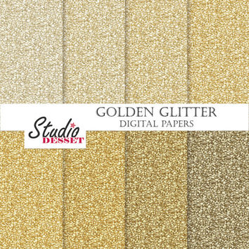 Golden Glitter Papers, Glitter Textures, Glitter Digital Paper Pack, New Year Instant Download, Sparkling Overlays