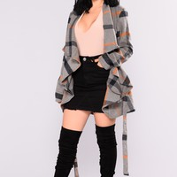 Catch Me Later Plaid Coat - Grey/Multi