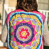 Crochet Vest  Sophie's Garden Mandala of color Bohemian Style  -Open Vest Jacket -Ready to Ship!