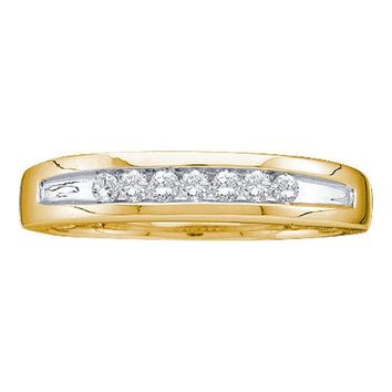 14kt Yellow Gold Mens Round Channel-set Diamond Two-tone Single Row Wedding Band 1/4 Cttw