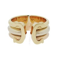 Cartier Double C Tri-Colored Logo Ring in 18K #503756