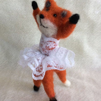 Needle felted fox figurine baby animal free shipping felting unique gift one of a kind cute miniature dancer fiber art ballerina wool felt