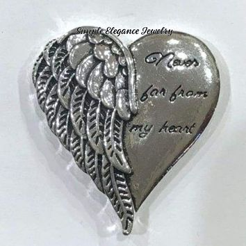 Never Far From My Heart Large Angel Wings Snap Charm 26mm for Snap Jewelry (Will fit 20mm Base)